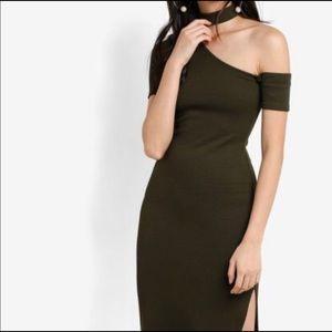 TopShop Olive Green Choker Dress